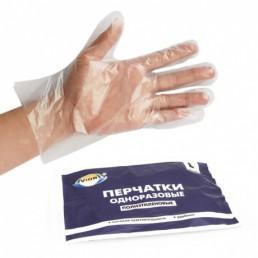 АВИОРА Перчатки одноразовые полиэтиленовые 100шт L