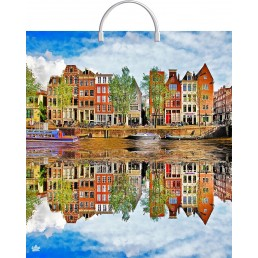 Пакет с пластиковой ручкой 40х44см Летний Амстердам
