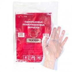ТЕХТОР Одноразовые полиэтиленовые перчатки 100шт L