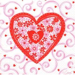 ЛИЛИЯ салфетки бумажные 33х33 2сл 20шт сердце